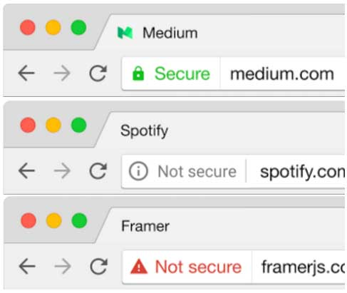 Google's new warning scheme for Chrome, indicating an HTTPS-encrypted site (top), a non-HTTPS site (middle), and a site with faulty HTTPS (bottom).